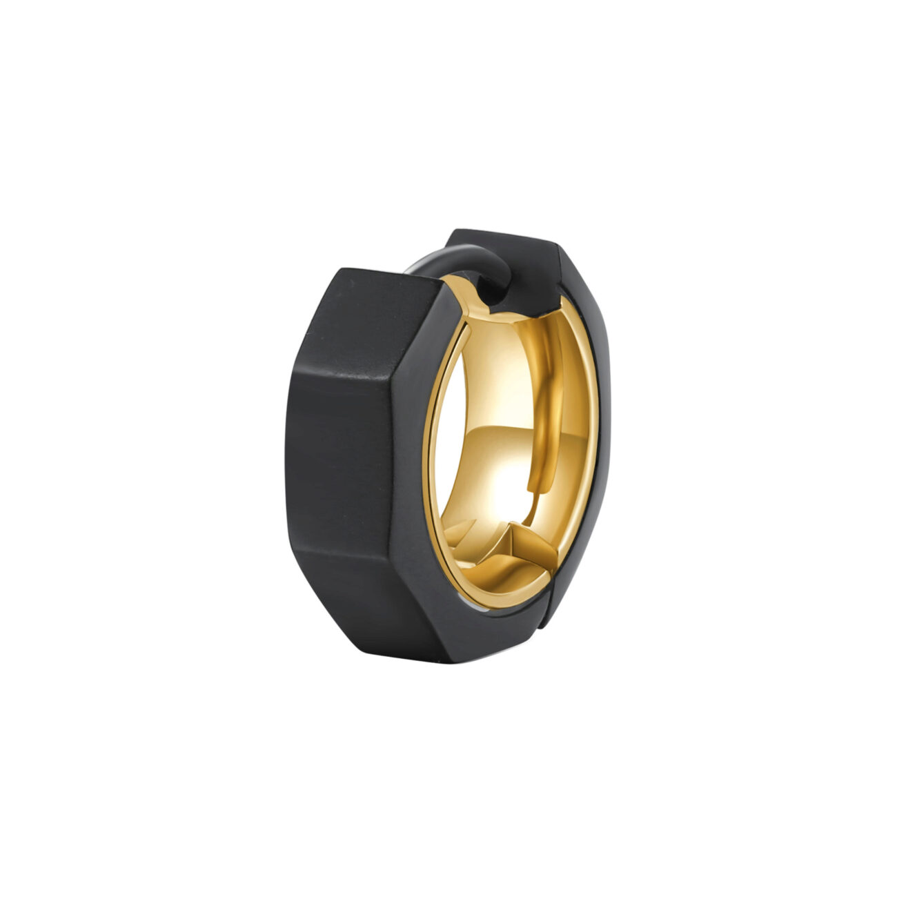 Single earring in 316L stainless steel bolt-shaped with black finishes and gold finishes.