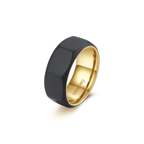 316L stainless steel ring bolt-shaped with black finishes and gold finishes.