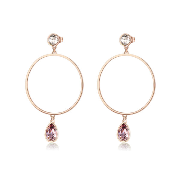 316L stainless steel hoop earrings, rose gold pvd and Swarovski® crystals.