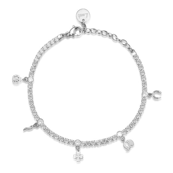 304 stainless steel tennis bracelet with lucky pendants, white cubic zirconia and crystals.