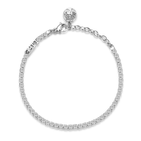 304 stainless steel tennis bracelet with life inscription, tree of life and white cubic zirconia.