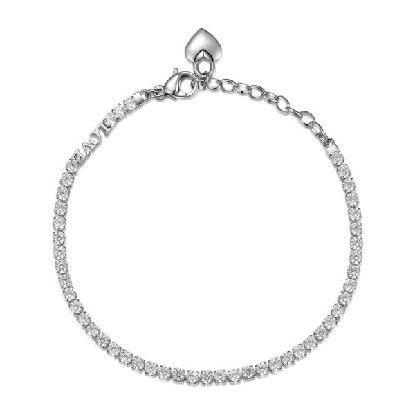 304 stainless steel tennis bracelet with hearts and heart writing and white cubic zirconia.