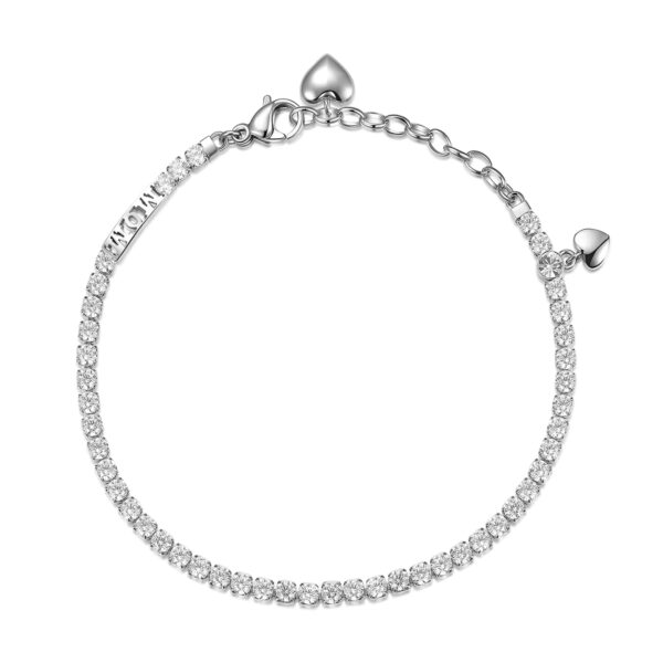 304 stainless steel tennis bracelet with mom writing and hearts, white cubic zirconia.