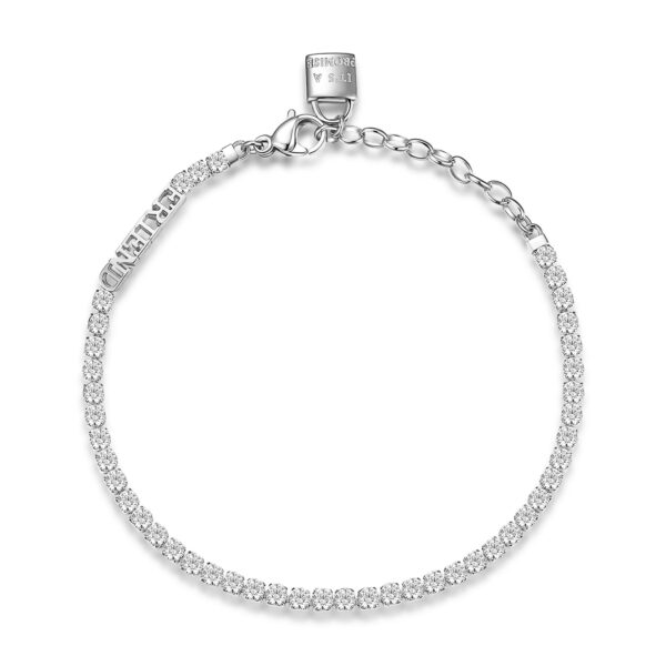 304 stainless steel tennis bracelet with friend writing and padlock with writing it's promise, white cubic zirconia.