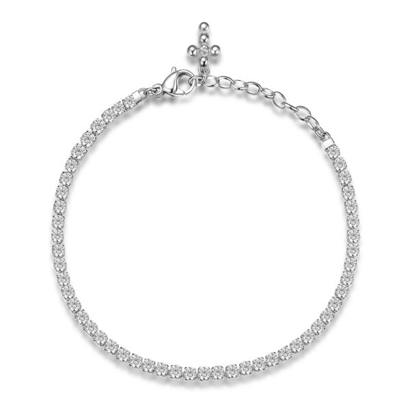 304 stainless steel tennis bracelet with cross, white cubic zirconia and crystal.