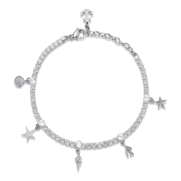 304 stainless steel tennis bracelet with shells, white cubic zirconia and crystal.