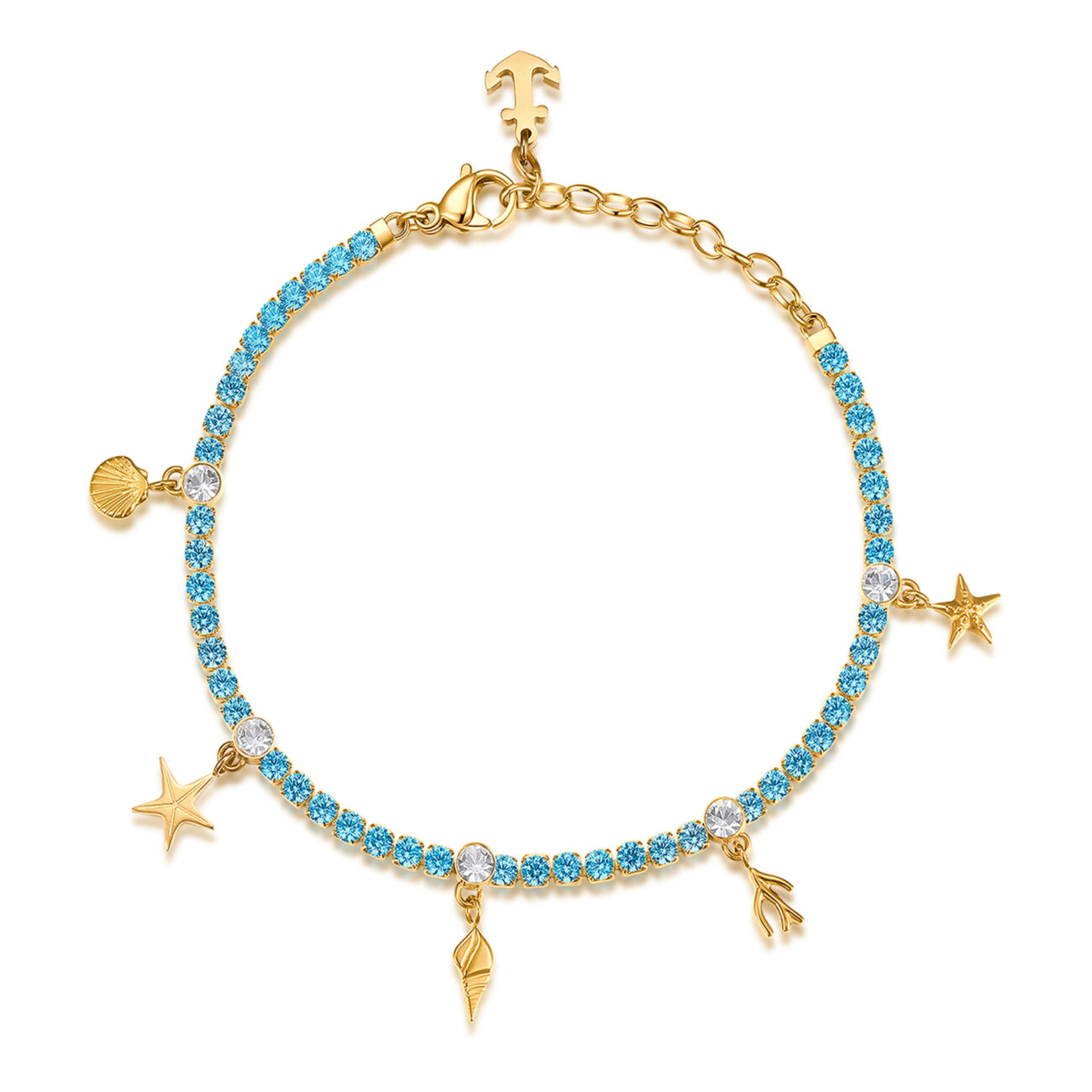 304 stainless steel tennis bracelet, gold pvd with blue shells, cubic zirconia and crystal.
