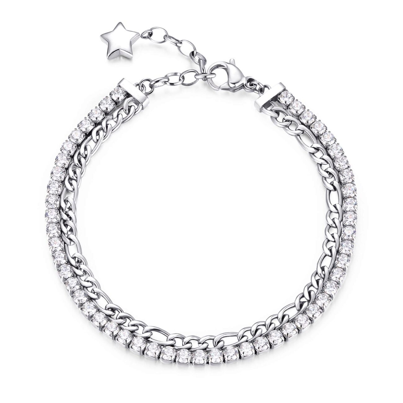 304 stainless steel double tennis bracelet with white cubic zirconia.