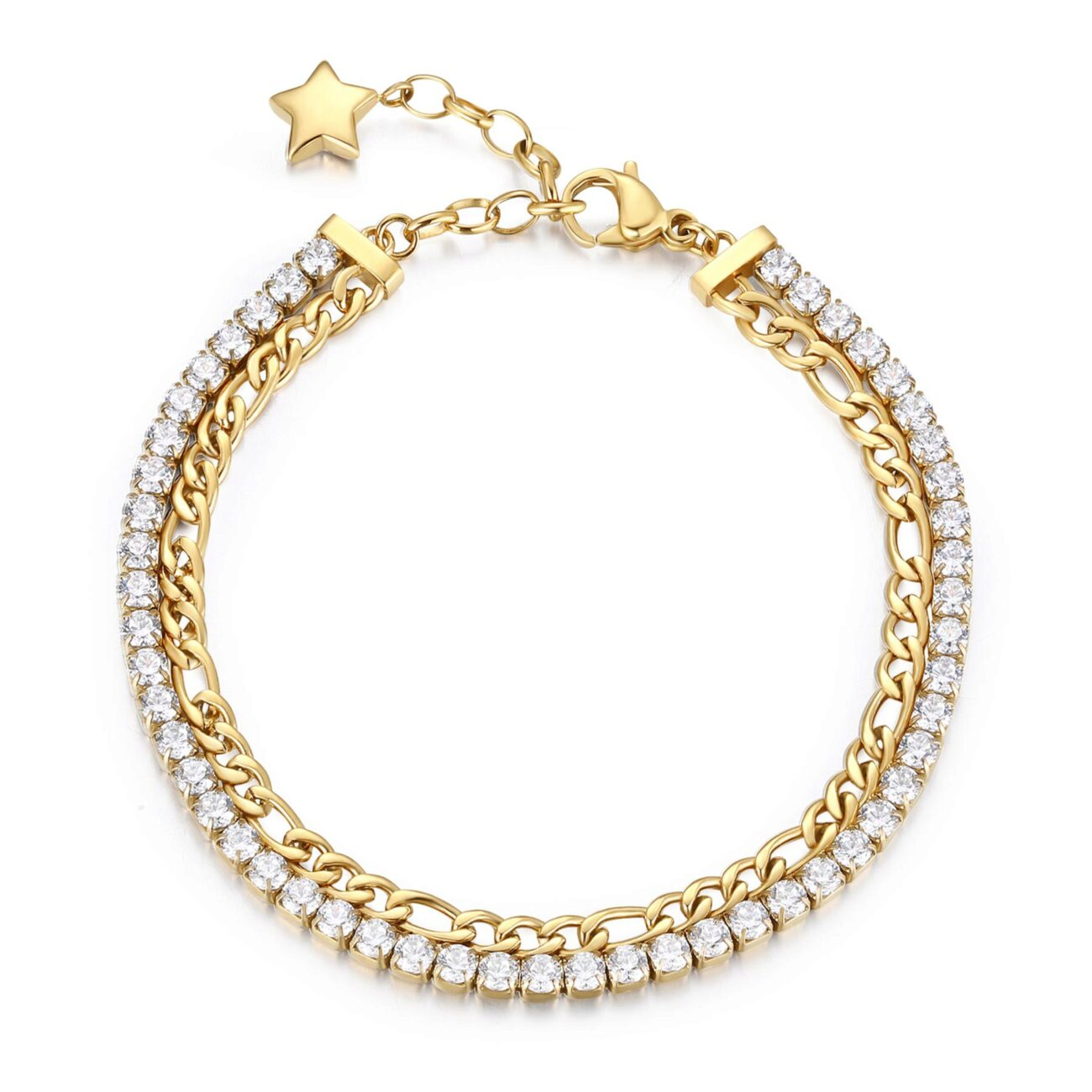 304 stainless steel double tennis bracelet and gold finishes with white cubic zirconia.