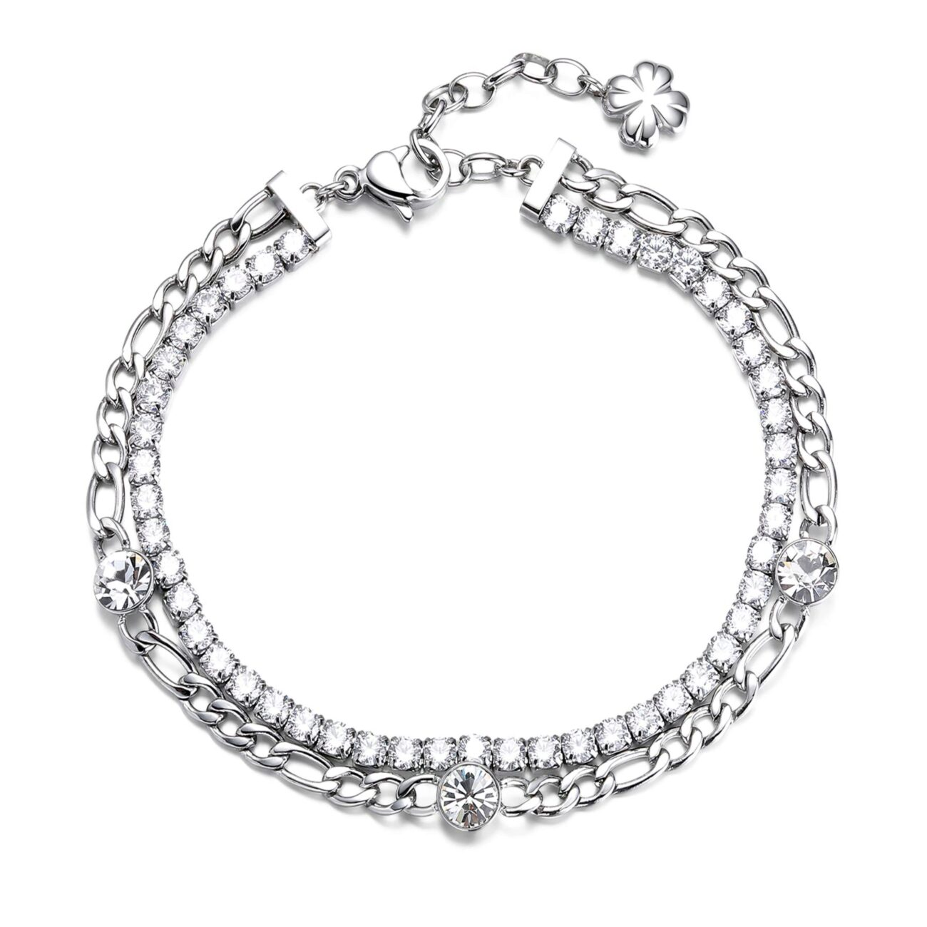 304 stainless steel double tennis bracelet with white cubic zirconia and crystals.