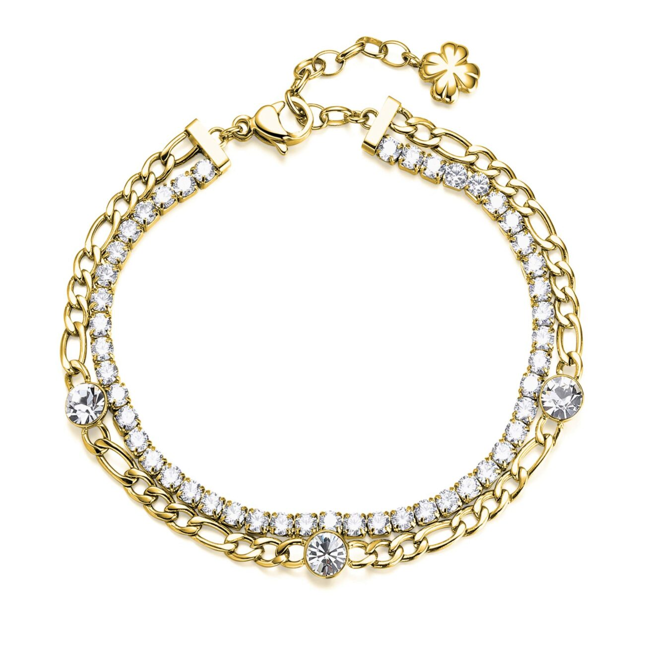 304 stainless steel double tennis bracelet and gold finishes with white cubic zirconia and crystals.