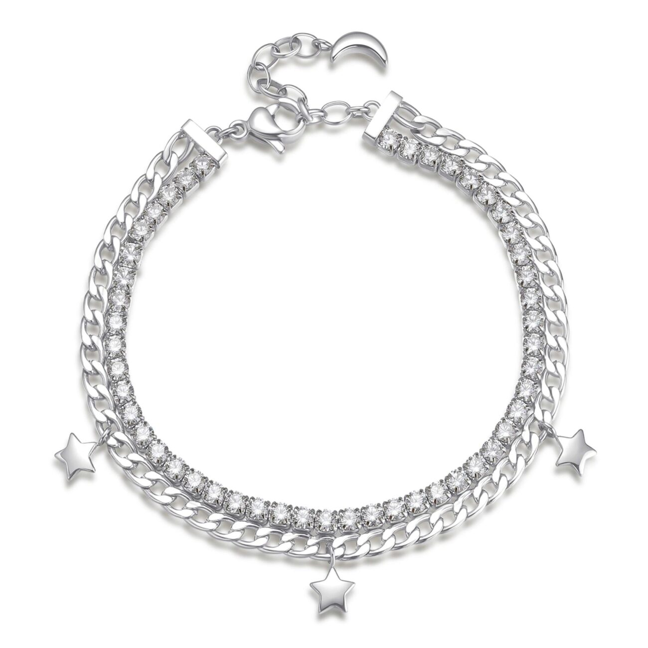 304 stainless steel double tennis bracelet with white cubic zirconia, crystals and star pendants.