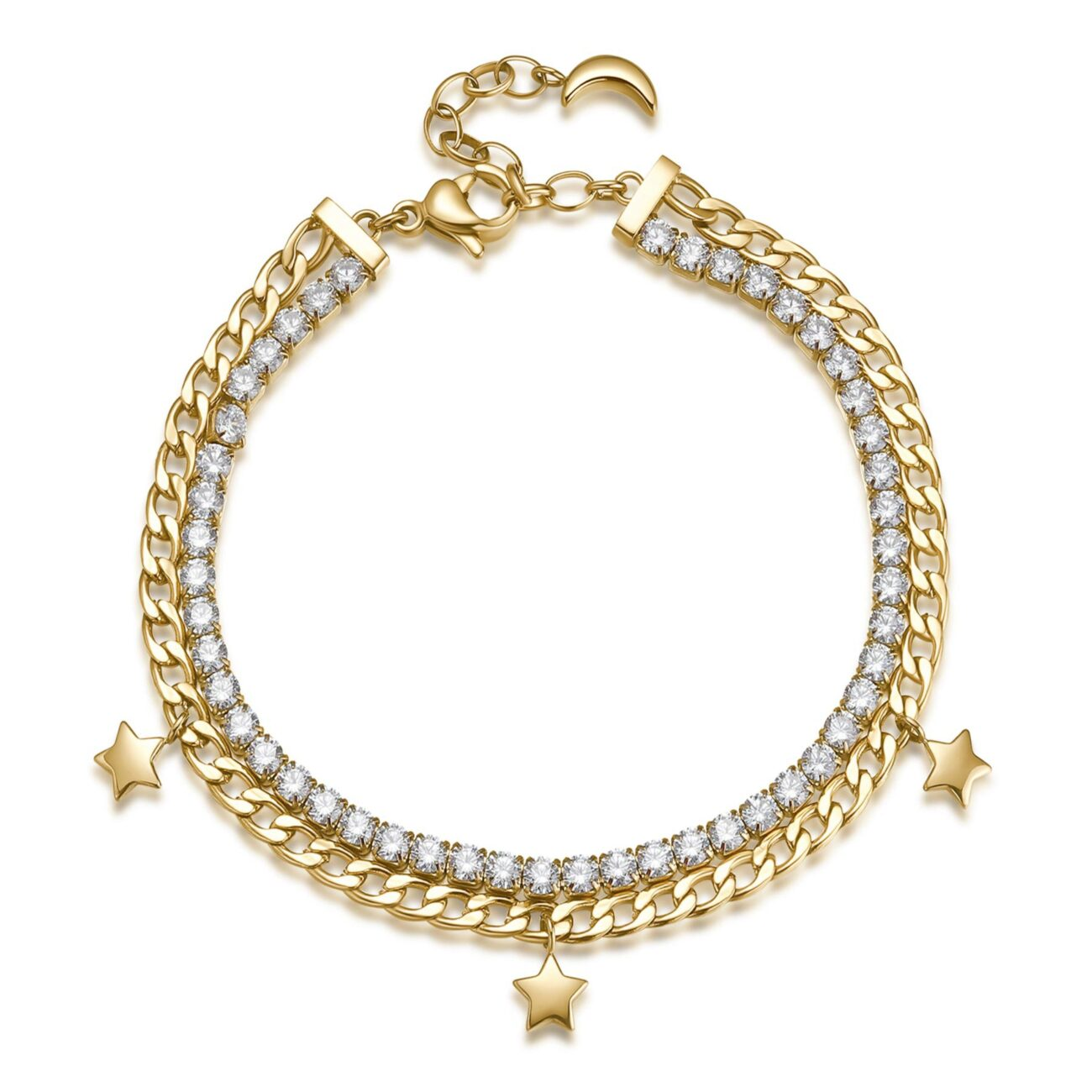 304 stainless steel double tennis bracelet and gold finishes with white cubic zirconia, crystals and star pendants.