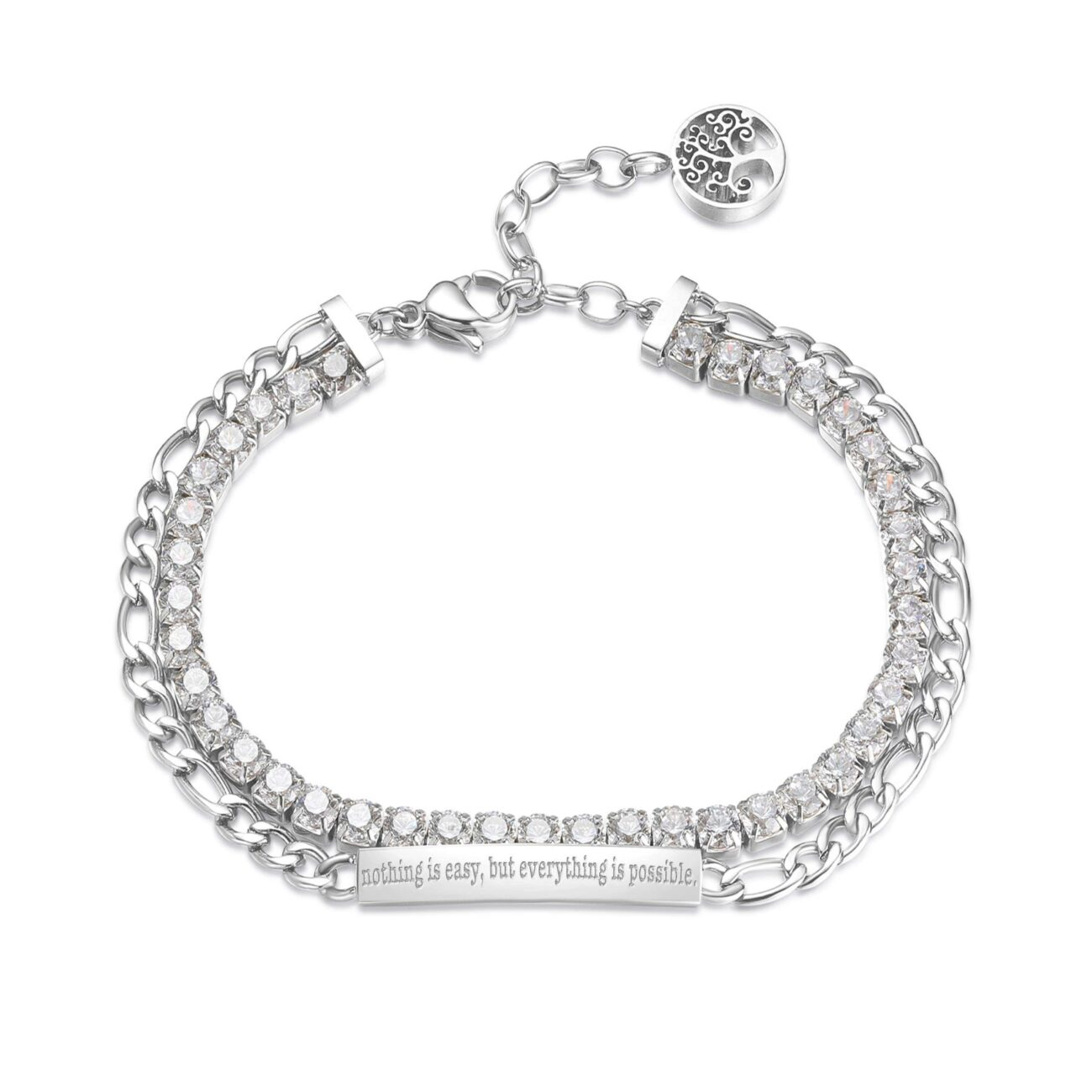 ENGRAVED: Nothing is easy, but everything is possible (front) 304 stainless steel double tennis bracelet with white cubic zirconia and bar.