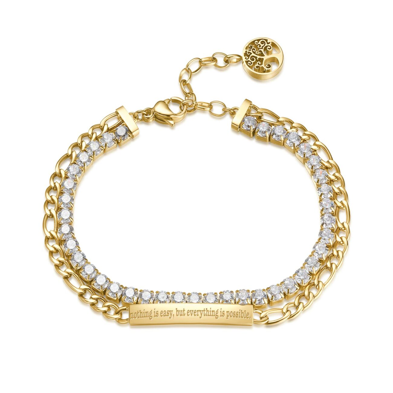 ENGRAVED: Nothing is easy, but everything is possible (front) 304 stainless steel double tennis bracelet and gold finishes with white cubic zirconia and bar.