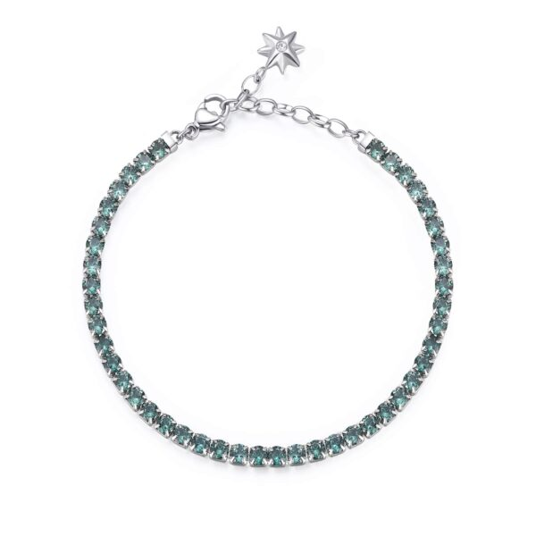 304 stainless steel tennis bracelet with star and spinel green cubic zirconia.