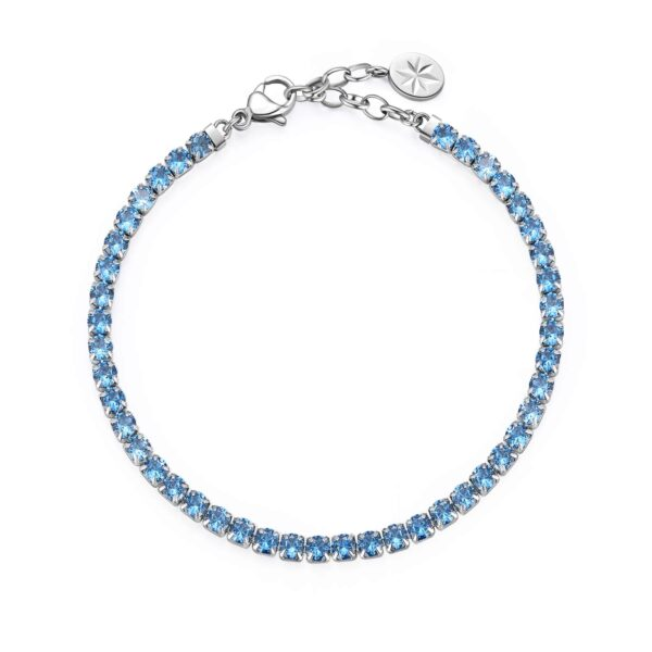 304 stainless steel tennis bracelet with spinel blue cubic zirconia.
