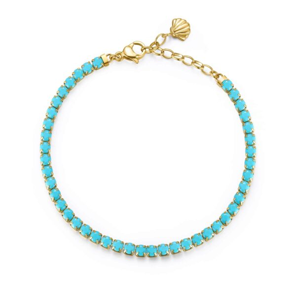 304 stainless steel tennis bracelet, gold pvd with seashell and torquoise green cubic zirconia.