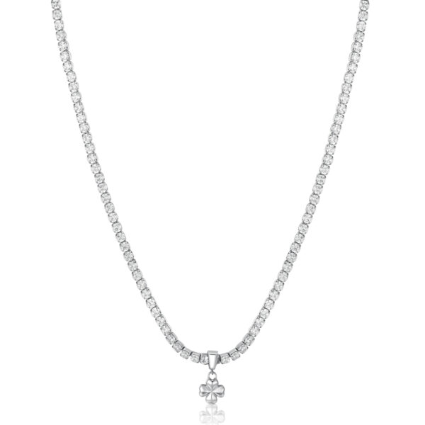 304L stainless steel necklace with four-leaf-clover pendant and cubic zirconia.
