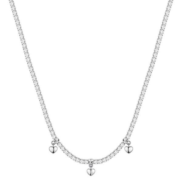 304L stainless steel necklace with hearts, white cubic zirconia and crystal.