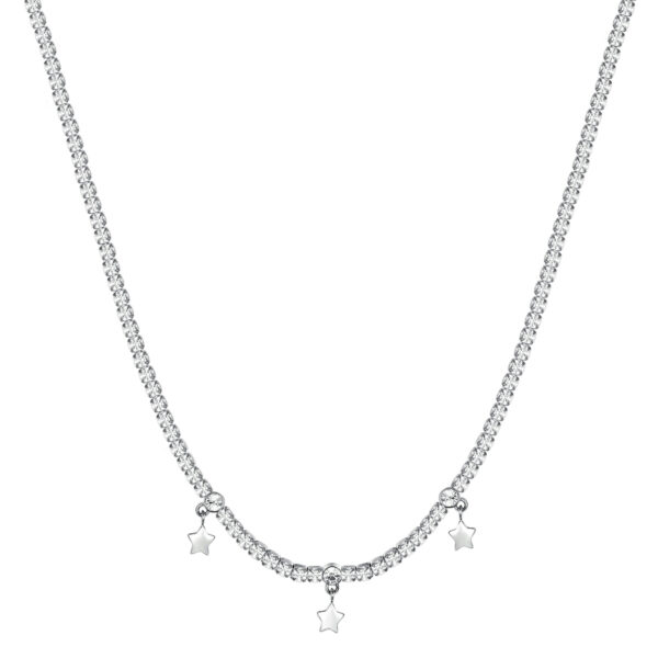 304L stainless steel necklace with stars, white cubic zirconia and crystal.