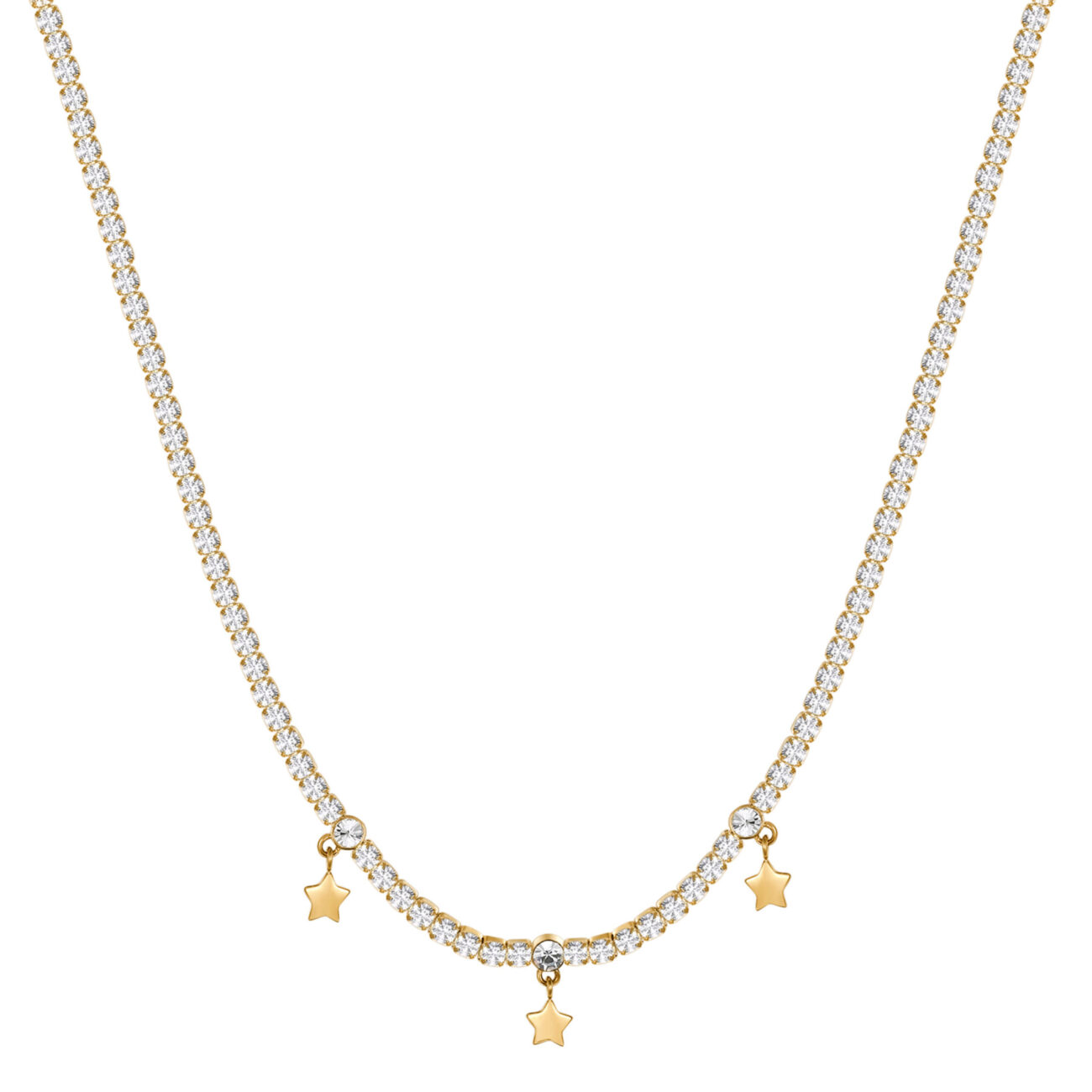 304L stainless steel necklace and gold finishes with stars, white cubic zirconia and crystal.