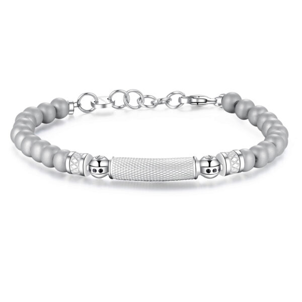 316L stainless steel bracelet and jet Swarovski® crystals with satin steel spheres
