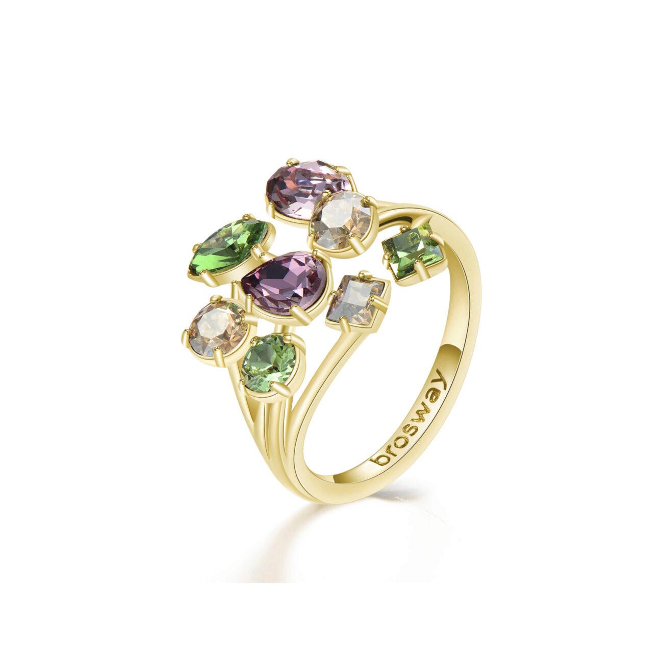 316L rhodiated brass ring, gold galvanic and Swarovski©crystals.
