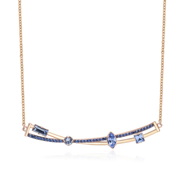 Rhodiated brass necklace and rose gold galvanic with blue zircons and light sapphire Swarovski©crystals.