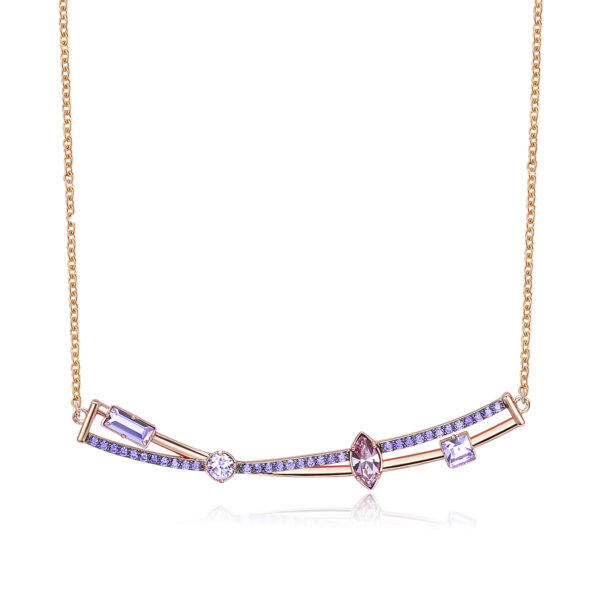 Rhodiated brass necklace and rose gold galvanic with violet zircons and violet light amethyst Swarovski©crystals.