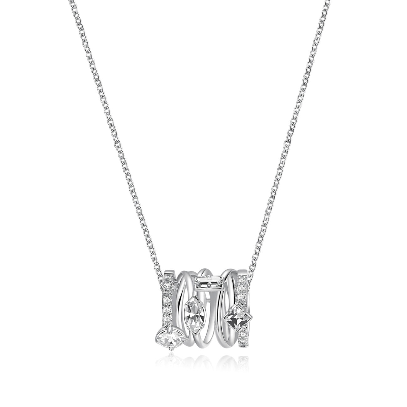 Rhodiated brass necklace with white zircons and crystal Swarovski©crystals.