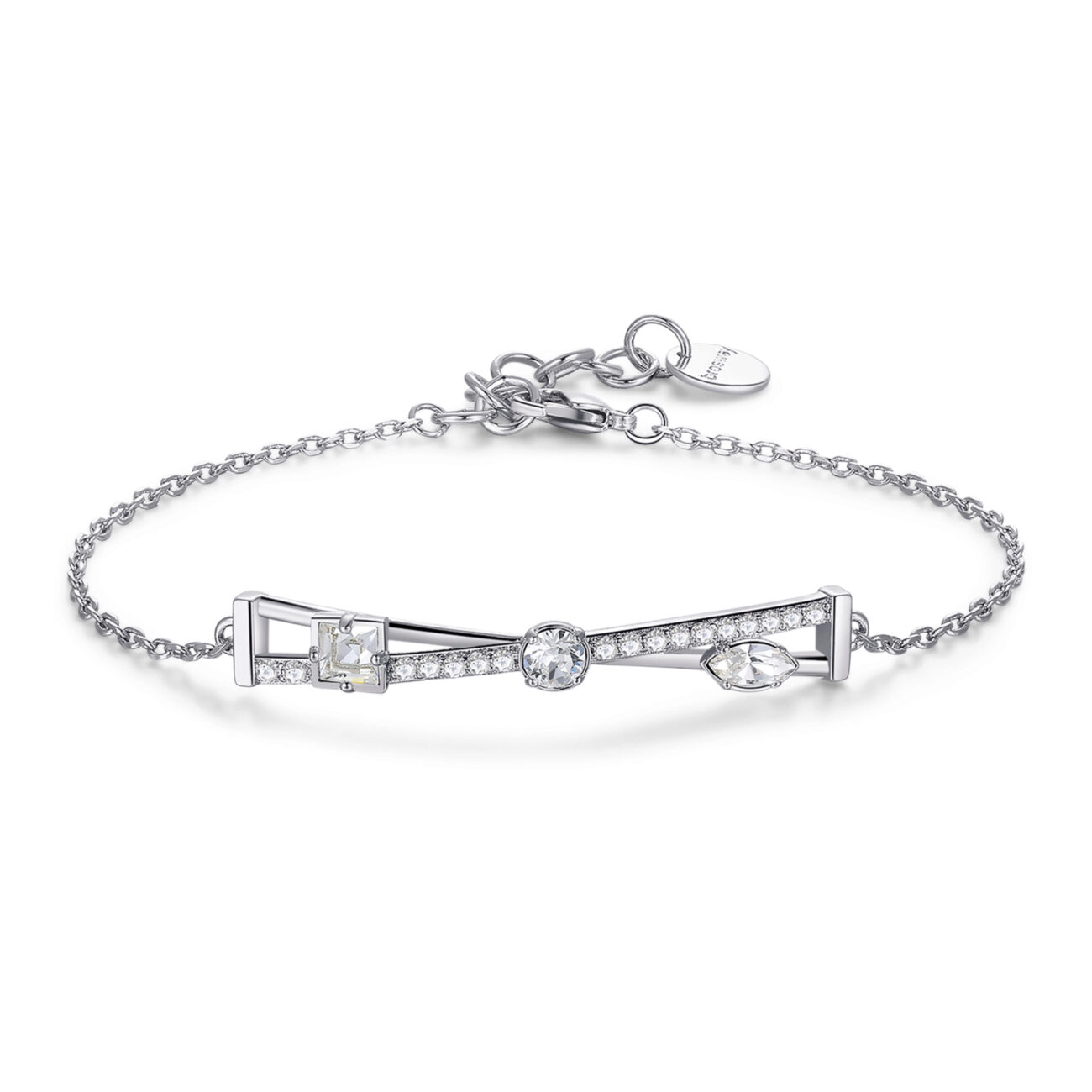 Rhodiated brass bracelet with white zircons and crystal Swarovski©crystals.