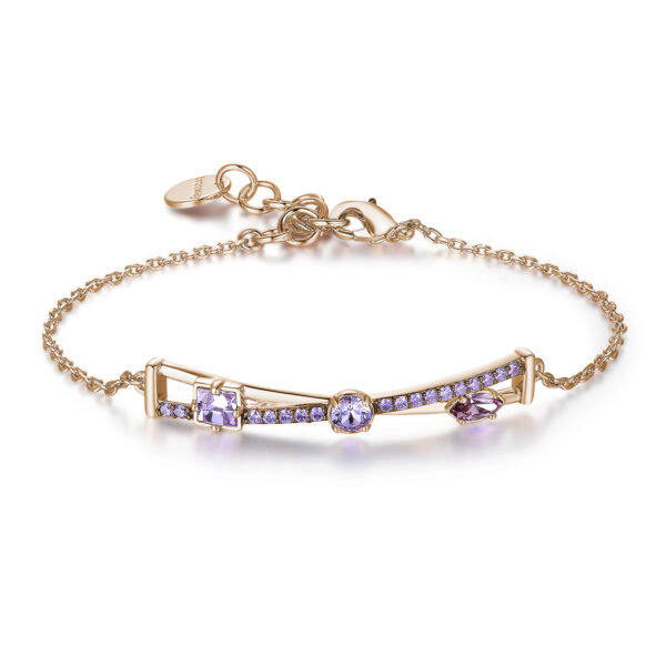 Rhodiated brass bracelet and rose gold galvanic with violet zircons and violet light amethyst Swarovski©crystals.
