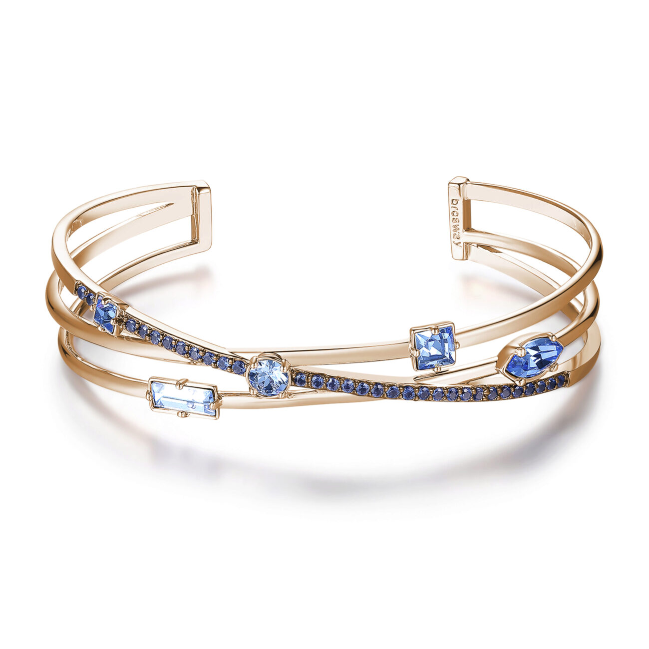 Rhodiated brass bracelet and rose gold galvanic with blue zircons and light sapphire Swarovski©crystals.