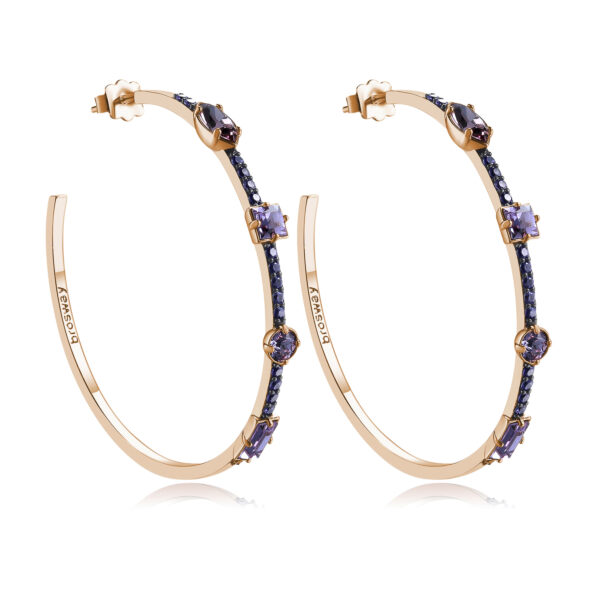 Rhodiated brass earrings and rose gold galvanic with violet zircons and violet light amethyst Swarovski©crystals.