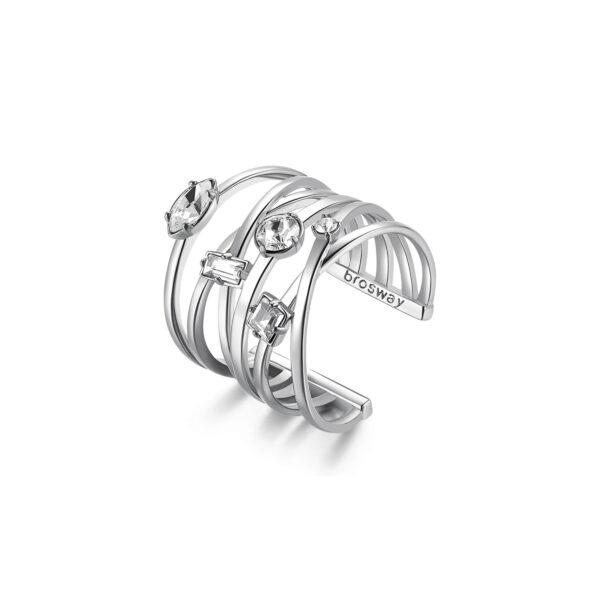 Rhodiated brass ring with crystal Swarovski©crystals.