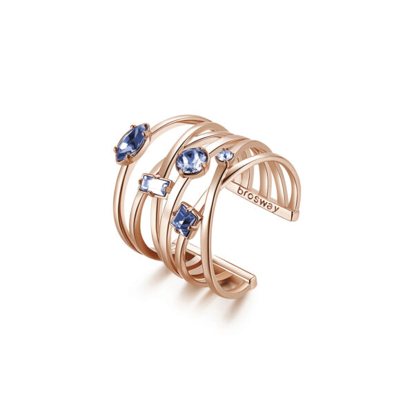 Rhodiated brass ring and rose gold galvanic with light sapphire Swarovski©crystals.