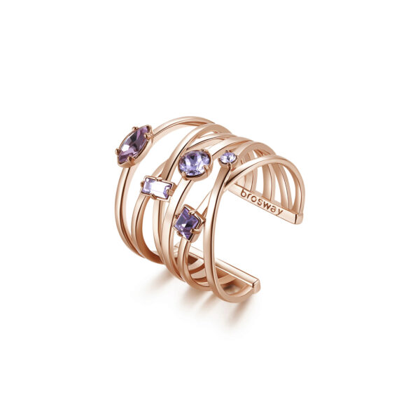 Rhodiated brass ring and rose gold galvanic with violet light amethyst Swarovski©crystals.