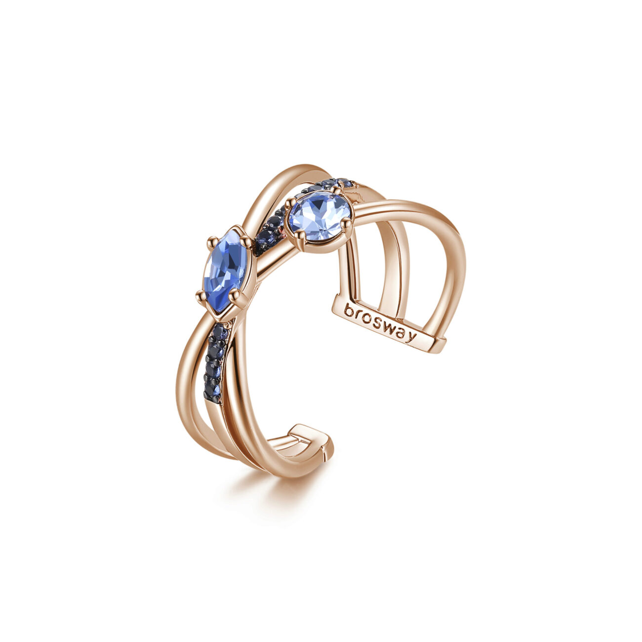 Rhodiated brass ring and rose gold galvanic with blue zircons and light sapphire Swarovski©crystals.