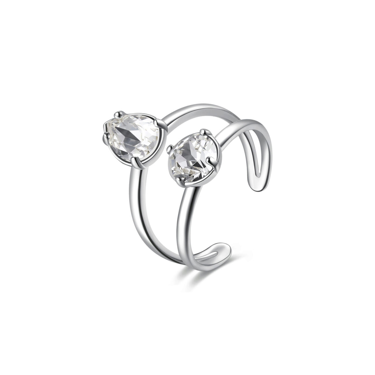 Rhodiated brass ring with Swarovski©crystals.