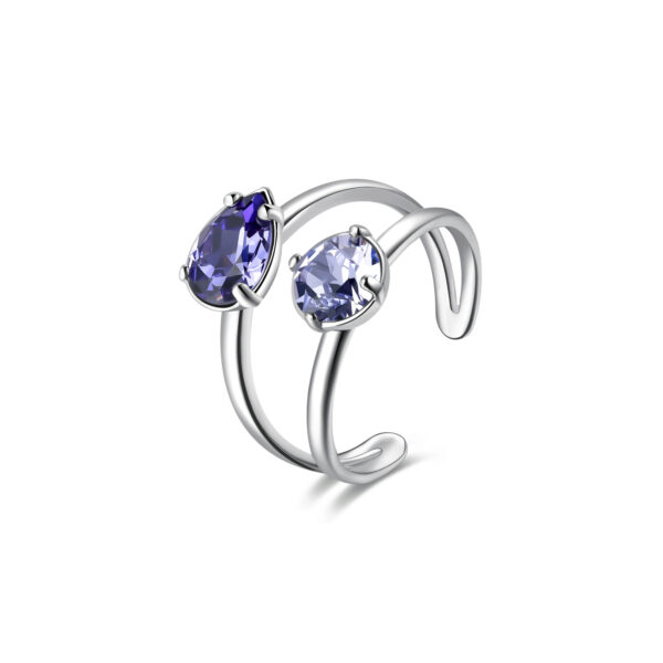 Rhodiated brass ring with provence lavender and tanzanite Swarovski©crystals.