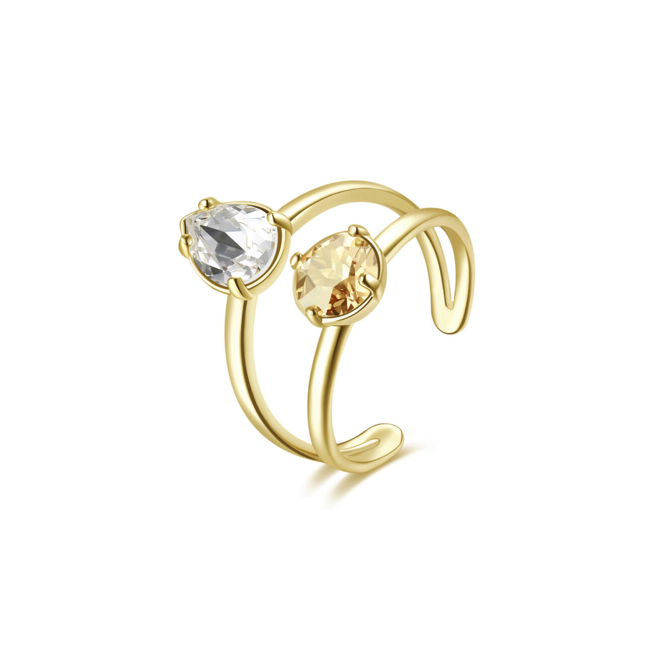 Rhodiated brass ring and gold galvanic with crystal golden shadow and crystal Swarovski©crystals.