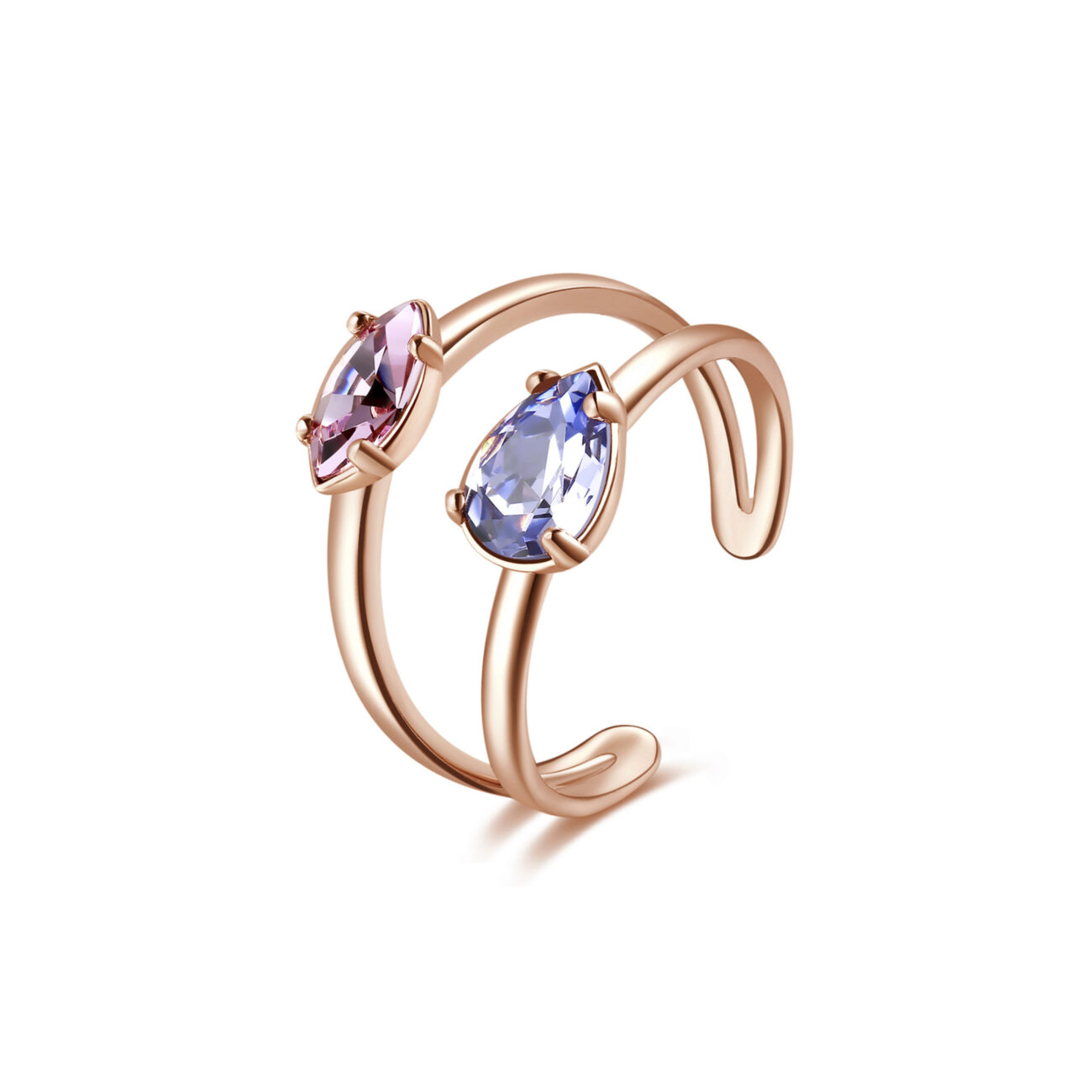 Rhodiated brass ring and rose gold galvanic with provence lavender and light amethyst Swarovski©crystals.