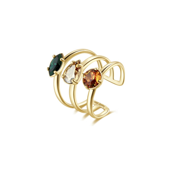 Rhodiated brass ring and gold galvanic with golden shadow and emerald Swarovski©crystals.