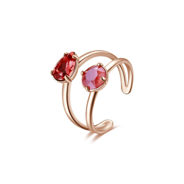 Rhodiated brass ring and rose gold galvanic with crystal light coral and padparascha Swarovski©crystals.