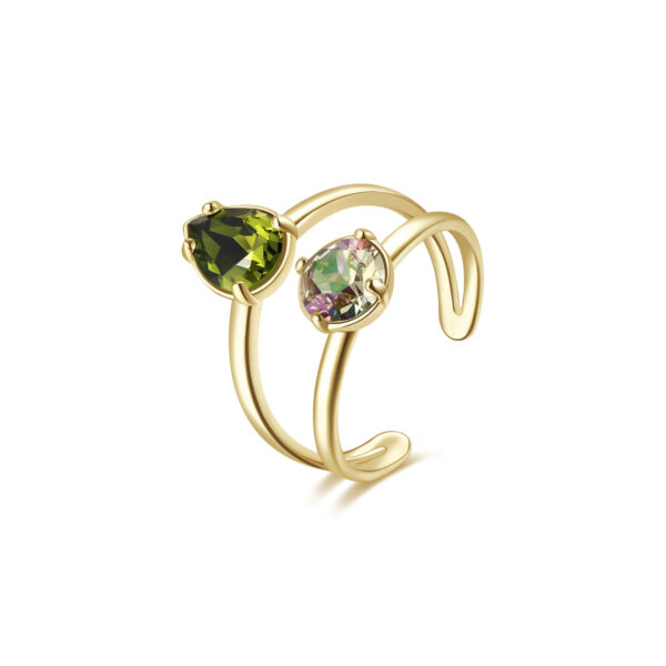 Rhodiated brass ring and gold galvanic with olivine and crystal luminous green Swarovski©crystals.