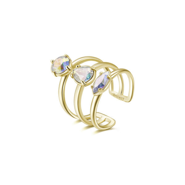 Rhodiated brass ring and gold galvanic with crystal transmission Swarovski©crystals.