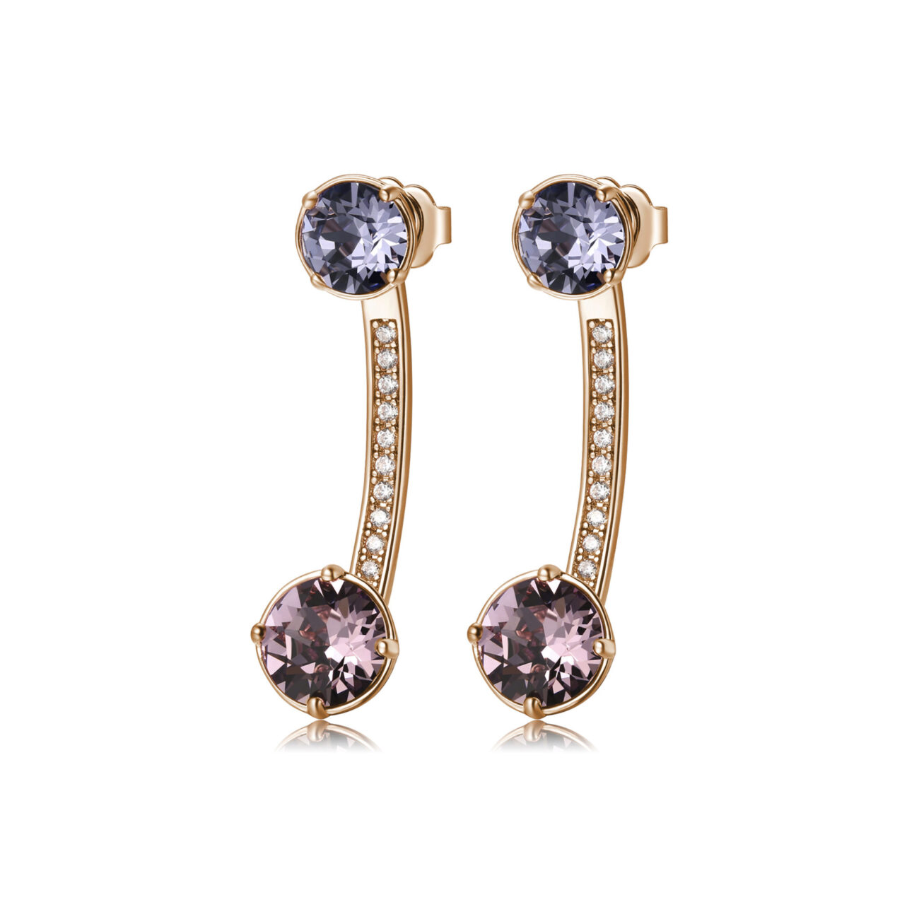 brass earrings, rose gold plated, coloured Swarovski® Elements crystals and zircons