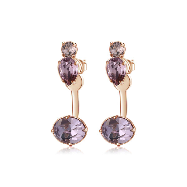brass earrings, rose gold plated, coloured Swarovski® Elements crystals