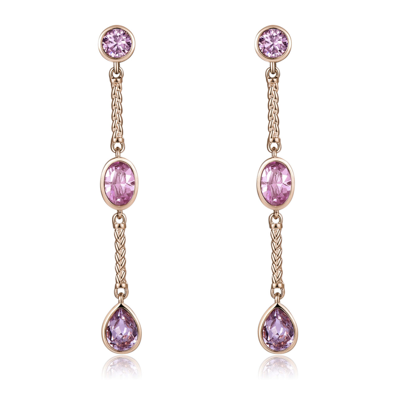 Short brass earrings with rose gold PVD and vintage rose, light amethyst and smoky mauve Swarovski® crystals.